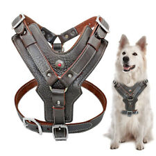 Leather Extra Large Dog Harness Vest with Control Handle Adjustable Heavy Duty