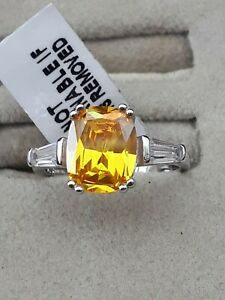 Sterling Silver Simulated Yellow Sapphire & Diamond Ring Size M nwt