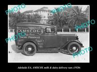 OLD HISTORIC PHOTO OF ADELAIDE SA, AMSCOL MILK & DAIRY Co DELIVERY VAN c1920s
