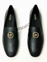 Women MK Michael Kors Heather Flat/Loafer/Moccasins/Slip On Shoes Leather Black