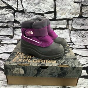The North Face Toddler Alpenglow Violet & Gray Waterproof Winter Snow Boots Sz 7