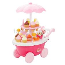 Pink Ice Cream Sweets Cart Shop Toy Stand Kids Pretend Play Set with Lights