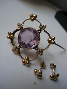 Stunning Antique Fine Deco 9ct Amethyst Seed Pearls Brooch & Tiny Stud earrings