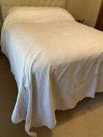 "Antique Venezuelan Hand Embroidered Cotton Bed Coverlet 90"" x 100"""