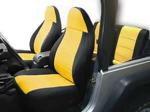 Jeep Wranglar TJ 1997-2002 Wetsuit Neoprene Seat Cover Set: Front & Rear- Yellow