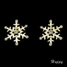 Snowflake Winter Holiday Christmas Stud Earrings Jewelry 18K GP Clear New 519