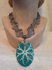 "21"" Choker Necklace, Turquoise Abalone Shell, STERLING SILVER 2.5"" Titanium Mesh"