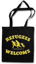 REFUGEES WELCOME I HIPSTER TOTE BAG Pro Flüchtlinge Asyl PDS Stoffbeutel Tasche
