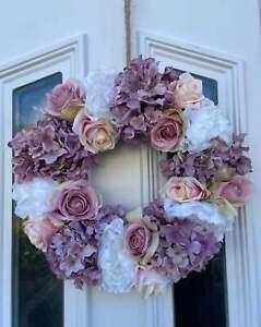 Front Door Wreath,  Faux Flowers, Home Decor, Summer Wreath, Rose Peony Wreaath