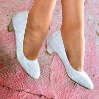 Ladies Low Heel Bridal Shoes Women Floral Satin Lace Wedding Slip On Court Shoes