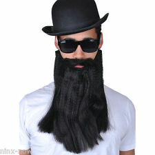 Black Long Beard and Moustache Bikie Hipster Jew Costume Accessory
