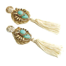 NEW SAMANTHA WILLS Hand Over Love Grande Earrings Gold Amazonite Tag Pouch