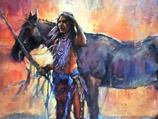 Native American SHAMAN Indian VISION Santa Fe NM Southwest Original Oil painting