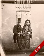 THE UNAMUSED WIFE HOT IN AIR BALOON W HUSBAND FUNNY ART REAL CANVAS GICLEEPRINT