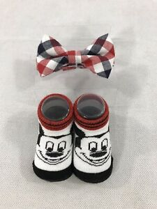 Disney Baby Mickey Mouse Bowtie and Booties Size 0-12 Months