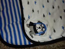 LN 30x30 Carter's Airplane Puppy Dog Pilot Stripe Receiving Crib Blanket Lovey