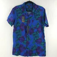 Marc Anthony Mens Shirt Floral Tropical Slim Fit Wicking Blue Size M, L, 2XL NEW