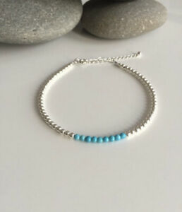 Sterling silver and turquoise anklet. Turquoise gemstone anklet