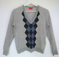 Pringle Argyle Grey & Blue Extra Fine Merino Wool Long Sleeve Jumper Size M