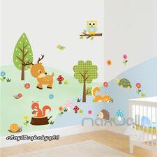 Animals Deer Squirrel Snail Owl Tree Bird Wall decals sticker kids nursery decor