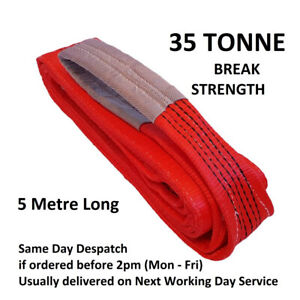 35 tonne Break Tow Strap GWS Red Flat Lifting Sling, 5 Tonne SWL, 5 metre Big St