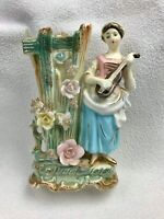 Vintage Ceramic Bud Vase Lady Woman Playing Guitar RARE Unique Made in Japan