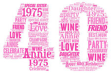 16th 18th 21st 30th 40th 50th 60th Birthday Personalised Word Art Print Gift