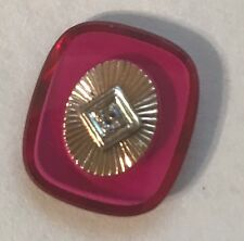 LOOSE CUSHION CUT RUBY 16 X 15MM SET WITH YELLOW AND WHITE GOLD PLATE AND .03CT