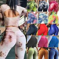Womens Anti-Cellulite Yoga Pants Leggings Ruched Push Up Sports Gym Workout M3