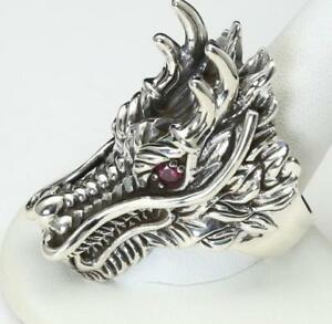 Sterling Silver Large Dragon Head with Red Stone Eyes Biker Ring Size 14.5