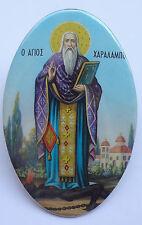 Saint CHARALAMBOUS Vintage Greek Orthodox Print Icon on Metal NEW
