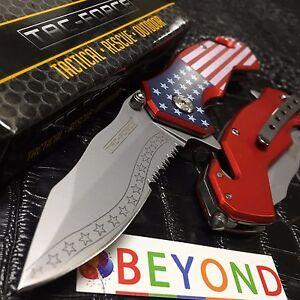 Tac Force Half Serrated USA Flag Handle Tactical Spring Assisted Pocketknife