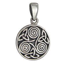 Sterling Silver Small Celtic Knot Triskelion Pendant Irish Knotwork Jewelry