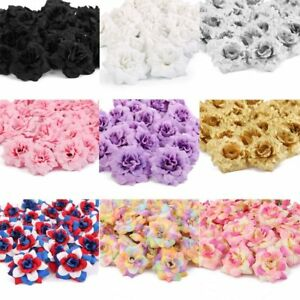 100Pcs Artificial Fake Rose Silk Flower Head Wedding Party Garden Home Decor US