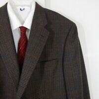 brown HICKEY FREEMAN jacket blazer sport coat wool cashmere houndstooth 44R