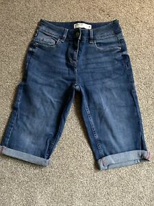 NEXT Denim Mid Blue Knee Shorts Size 6 Mid Rise With Turn Up Hems