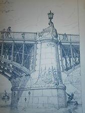 Croquis d'architecture 19° grande taille Pile de pont Napoléon III Pierre et fer