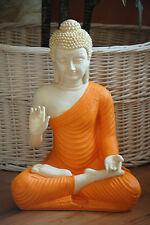 Buddha Groß FENG SHUI STATUE Orange Budda 45 cm Figur Garten Deko Wetterfest