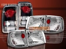 1993-1997 FORD RANGER CRYSTAL CLEAR HEADLIGHTS + CORNER + BLACK TAIL LIGHTS