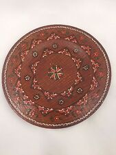VINTAGE HAND PAINTED WOODEN DECORATIVE COLLECTIBLE PLATE-5 INCH-RED FLOWERS-LOOK