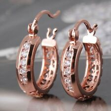 18 K Rose Gold Filled Stunning White Sapphire Huggie Hoop Earrings