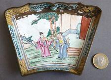 Plat coupelles en émail 19e siècle Canton Chine China enamel 19th century