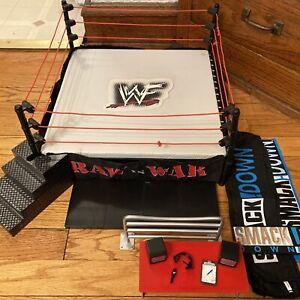 WWF WWE Attitude Wrestling Ring Jakks W/ Accessories And Extra Gear