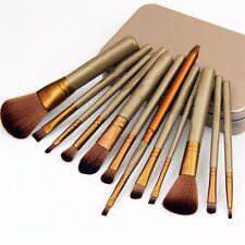 12tlg Pinselset Echthaare Pinsel golden Makeup Set mit Kosmetik Tasche v&