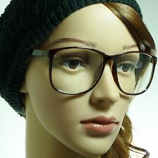 RETRO Oversized Large Nerdy Geek Frame Trendy Clear Lens Eye Glasses TORTOISE