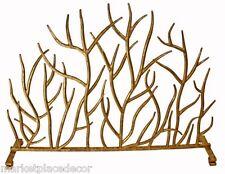 Contemporary Twig Italian Gold Iron Branch Decorative Fireplace Screen Modern