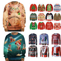 Women Men Christmas Tops Ugly Sweater Xmas Jumper Sweatshirt Pullover Hoodies 3D