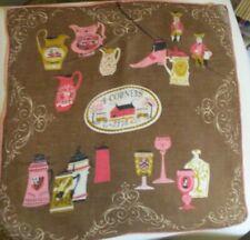 Vintage Pat Prichard Pure Dark Brown Linen Hankie 4 Corners 1773 Iowa State Fair