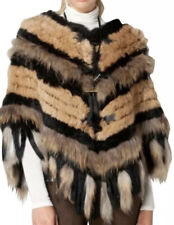 Nwt Hale Bob Real Rabbit & Raccoon Fur Poncho With Toggles Sz Xs/S
