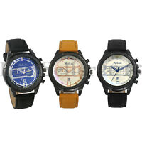 Mens Date Calendar Business Dress Analog Quartz Leather Band Sports Wrist Watch